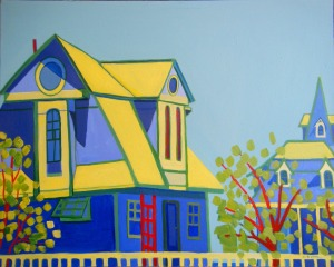 "Beach Houses by Debra Bretton Robinson, acrylics on canvas, 30""x24"", $1500.00"