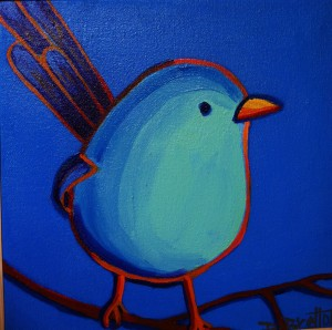 """The Fairy Wren"", acrylics on canvas, 10"" x 10"", SOLD"