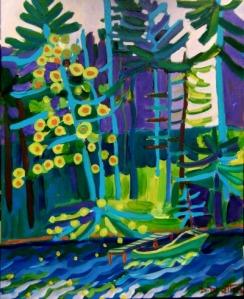 Docked at Massapoag Lake, acrylics on canvas, SOLD