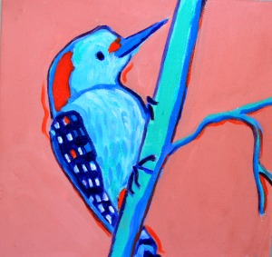"""Woodpecker"", 10"" x 10"", acrylics o;n canvas, $299.00"