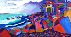 "acrylics on canvas by Debra Bretton Robinson, 18"" x 34"", $799.00"