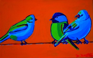 """Odd Bird Out"", acrylics on canvas, 14"" x 9"",$299.00"